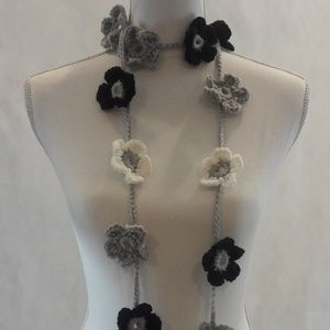 Lariat, Necklace, Crochet, Hand Crafted, Long,